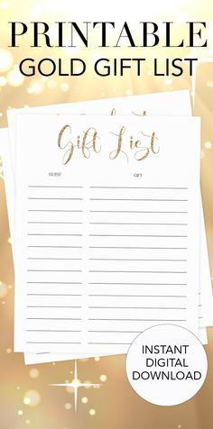 Printable Gift List   Gold