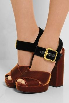Heel measures approximately 130mm/ 5 inches with a 25mm/ 1 inch platform Brown and black velvet Buckle-fastening ankle strap Made in ItalyAs seen in The EDIT magazine