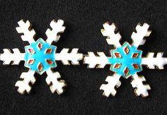 2 Turquoise CLOISONNE Snowflake CENTERPIECE Beads 8638D - Premium Bead