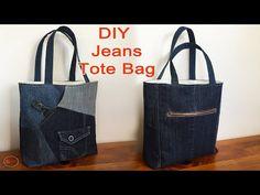 JEANS TOTE BAG TUTORIAL   TOTE BAG SEWING TUTORIAL   RECYCLE JEANS INTO BAGS   DIY BAG SEWING - YouTube Diy Bags No Sew, Patterned Jeans, Recycle Jeans, Recycled Denim, Denim Bag, Sewing Tutorials, Video Tutorials, Farmer, Reusable Tote Bags