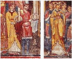 """""""A fresco from the Church of S. Clemente in Rome, 12th Century: The man on the left side has a knee length bliaut with no visible belt but his undertunic is showing at the knees. He has a high round neckline and long sleeves. The woman on the left has a keyhole neckline, a belt high enough to be empire waisted and knee length pointed sleeves which begin to widen above the elbow. The right woman's bliaut also has an empire-waisted belt. Her head covering is either a cap or a veil tied behind"""