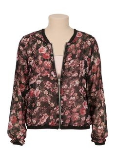 Floral print chiffon zip front jacket