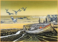 "I chose ""Sealgulls landing"" by Rob Barnes, Artist printmaker, Norfolk because I like his work and think that it is similar to the work of Sue Brown and Angie Lewin Linocut Prints, Art Prints, Block Prints, Linoprint, Coastal Art, Seaside Art, Naive Art, Wood Engraving, Print Artist"