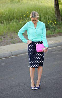 Mint blouse and polka dot pencil skirt