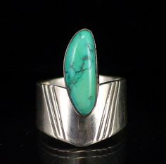 Wide Bold Early Native American Sterling Turquoise Ring Size 7