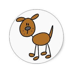 Shop Brown Dog Tshirts and Gifts Classic Round Sticker created by stick_figures. Art Drawings For Kids, Drawing For Kids, Animal Drawings, Easy Drawings, Stick Figure Drawing, Sketch Notes, Brown Dog, Stick Figures, Rock Crafts