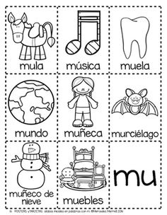POSTERS y TARJETAS de sílabas iniciales en palabras con m (Spanish)