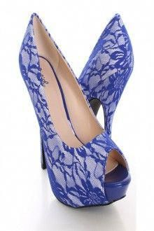 6e226e794d68 Royal Blue Peep Toe Pump Heels Lace Fabric  Promshoes Lace High Heels