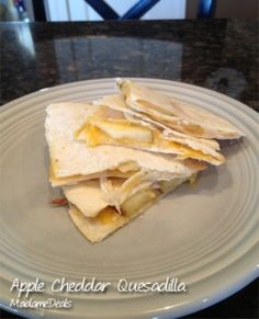 Apples and Cheddar Quesadillas combine the richness of Cheddar with the sweet tart taste of apples. Great for a snack or to serve while hanging out with friends. http://madamedeals.com/apple-recipes-for-kids/ #inspireothers #recipes