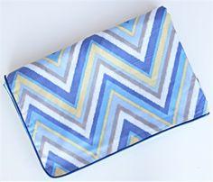 Piped Blanket - Ikat Blue Chevron