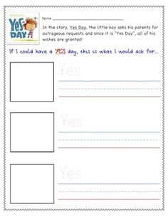 """""""Yes Day"""" Book - Shared Reading Extension Activity"""