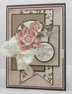 Thank You Narelle Farrugia Stampin Up. Beautiful layers- great way to show off patterned paper. Karten Diy, Thanks Card, Pretty Cards, Card Sketches, Sympathy Cards, Card Tags, Paper Cards, Vintage Cards, Vintage Handmade Cards