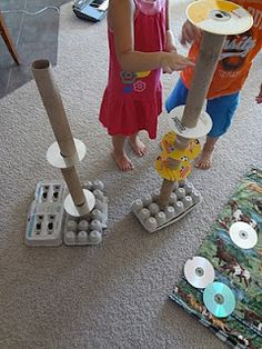 egg cartons+ tubes+ CD = building challenge