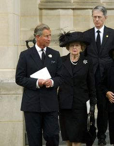 Prince Charles and Margaret Thatcher attend the funeral of President Ronald Reagan