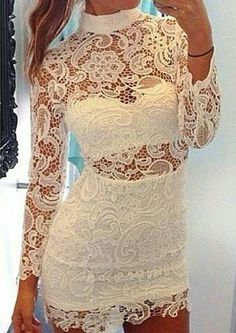 Sexy High Neck Long Sleeve Spliced See-Through Lace Women's Dress