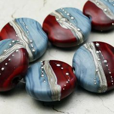 Glass Bead Set of 7 Lampwork Lentil Blue by StoneDesignsbySheila, $42.00