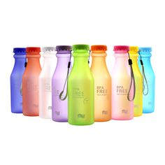 1pcs 550ml Candy-colored cup Soda bottles Plastic scrub seal kettle Portable sports cups Lemon Juice Cup Drinkware BPA Free 40