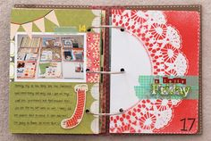 Using a doily as a mask makes a nice open spot that would be great for journaling or a photo.