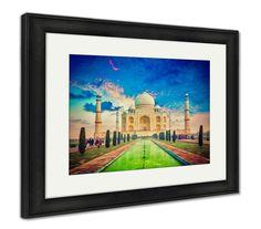Framed Print, Taj Mahal On Sunrise Sunset Agra India - 30 x 35, Rustic Barn Wood Frame / Vintage Black/White