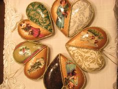 """Ginger"" decoupage Christmas hearts"