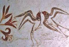 Spring Fresco (detail, Swallows), c. 1650 BCE. Minoan fresco