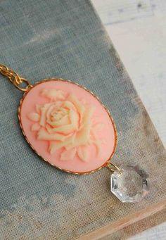 Peach ROSE CAMEO Pendant Romantic Orange