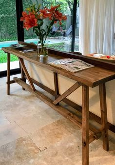Consola madera oscura Entryway Tables, Furniture, Home Decor, Dark Wood, Hall, Blue Prints, Decoration Home, Room Decor, Home Furnishings