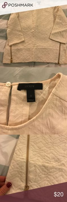 Jcrew White Textures Blouse 2 Jcrew textures Jcrew Top! 3/4 Sleeve! Thicker for the winter! Gold zipper accents! Gorgeous for the holidays! J. Crew Tops Blouses