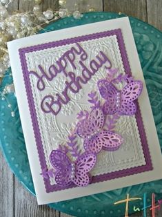 Hi everyone! Laurie here from Stamping Up North. Today I'm sharing a Birthday card featuring Tutti Designs Butterfly Strip. I decided to make some distressed background paper for my card. First I swiped some ink on my mat, then added water. Then I picked up the ink by swiping the paper onto the mat. I also used a brush here and there. After it all dried, I cut out 2 butterfly strips. I cut the butterflies off of one of the strips and adhered them onto the other strip. I added some tiny pearls in Birthday Cards For Women, Birthday Greeting Cards, Happy Birthday Cards, Birthday Greetings, Greeting Cards Handmade, Butterfly Cards Handmade, Cricut Birthday Cards, Birthday Images, Birthday Quotes