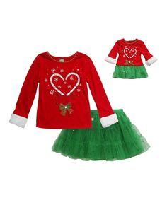 Red & Green Reindeer Skirt Set & Doll Outfit - Girls