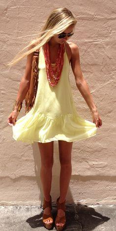 light yellow, lightweight dress + cute accessories and long hair