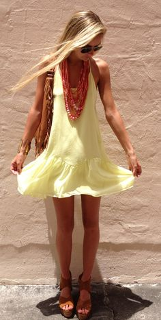 light yellow, lightweight dress + cute accessories and long hair