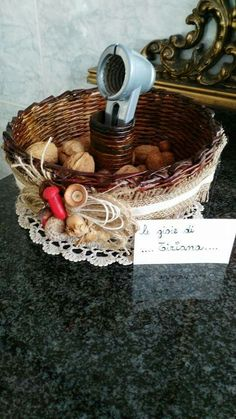 Porta frutta secca con cannucce di carta riciclata