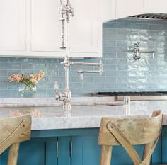 3'' x 12'' in Water Walker Zanger Tile   Kitchen Backsplash   Blue   Glass   Marble   Waterstone Gantry Kitchen Faucet   Chrome   Pot FIller