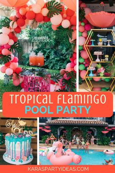 Festa na piscina tropical Flamingo - Tropical Baby Shower - Flamingo Party, Flamingo Pool, Flamingo Birthday, Flamingo Cake, Pool Party Themes, Pool Party Kids, Pool Party Decorations, Party Ideas, Teen Pool Parties