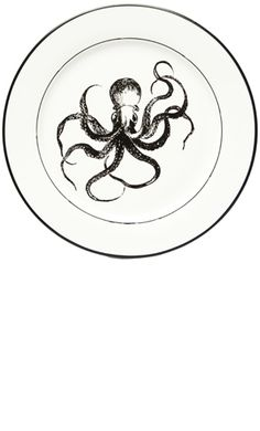 "OCTOPUS PORCELAIN PLATE    Oh what a surprise you will have when you finish your meal! This white porcelain plate features an octopus illustration in the center of this one of a kind dinner plate.  10"" by 10""    $17.00"