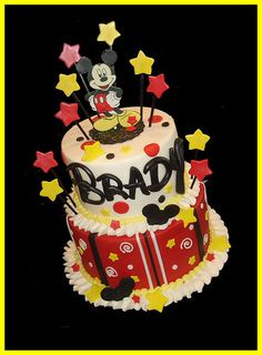 Mickey Mouse cake @kortneynpete piatchek what about with the ears on top instead of that picture & a 1 on the ears?