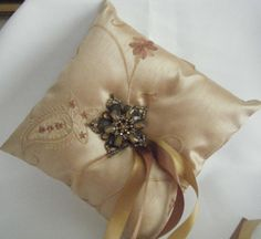 Ring Bearer Pillow, Silk Champagne
