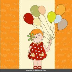 Cartão de aniversário colorido com menina bonito e balões