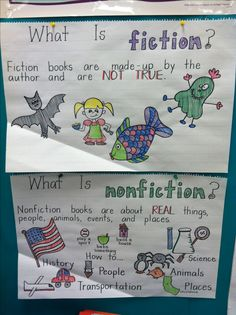 fiction/non-fiction - Students will each illustrate one example.  Place together to create a poster