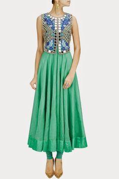 raw silk mirror work salwar kameez - Google Search