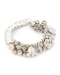 Silvertone Bead and Crystal Bracelet-Gabrielle K New York-Featured…