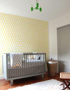 Modern nursery, modern kids room, yellow and grey nursery