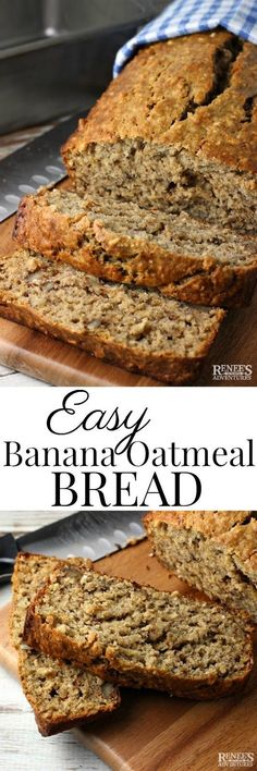 Easy Banana Oatmeal Bread | Renee's Kitchen Adventures - a better-for-you healthier recipe for banana bread enhanced with the goodness of old fashioned oatmeal for a delightfully chewy texture! Great recipe for over ripe and ripe bananas! #bananabread #oa