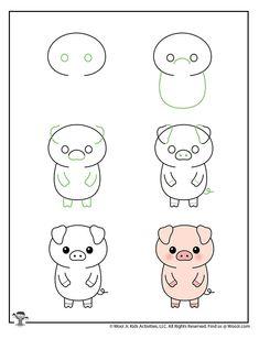 Easy Doodles Drawings, Easy Doodle Art, Easy Drawings For Kids, Cute Little Drawings, Simple Doodles, Cute Doodles, Cool Art Drawings, Kawaii Drawings, Drawing For Kids