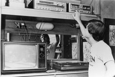 Student with his AV system in a dorm. Student playing a cassette tape in a dorm Black and white print (photograph); Alma Mater, Box Tv, Dorm, Have Fun, Student, Black And White, Dormitory, Blanco Y Negro, Black White