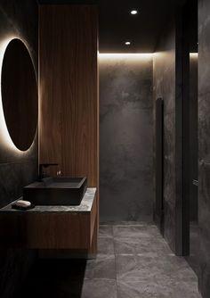 Small Dark Bathroom, Dark Bathrooms, Bathroom Design Luxury, Modern Bathroom Design, Latest Bathroom Designs, Dark Interiors, Toilet Design, Minimalist Bathroom, Bathroom Inspiration
