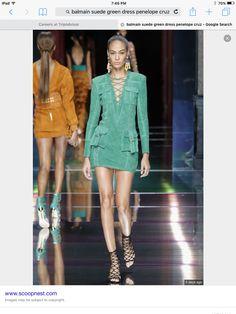 Balmain green suede dress