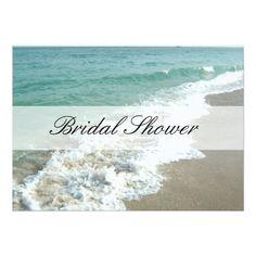 Cruise Ship Invitations Beach Bridal Shower Invitations, Aqua Blue/White Card