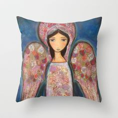 Angel en Rosa by Flor Larios Throw Pillow by Flor Larios Art - $20.00